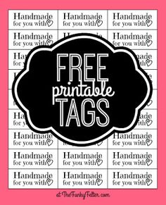 free printable craft tags or labels saying handmade with love by the funky felter