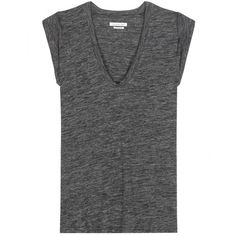 Isabel Marant, Étoile Jersey T-Shirt ($175) ❤ liked on Polyvore featuring tops, t-shirts, tees, grey, grey t shirt, jersey t shirts, gray tee, jersey tops and grey tee