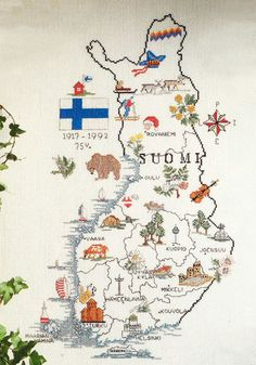 Finland Culture, Finnish Language, Brochure Examples, Moomin, Helsinki, Stuff To Do, Vintage World Maps, Cross Stitch, Blue And White