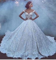 Luxury 2017 New Arrival Lace Wedding Dresses Off Shoulder Backless Vintage A Line Bridal Gown Wedding Gowns Robe Cathedral Train Custom Made - A Line Bridal Gowns, Lace Ball Gowns, Tulle Ball Gown, Bridal Dresses, Disney Wedding Dresses, Dream Wedding Dresses, Wedding Gowns, Lace Wedding, Dramatic Wedding Dresses