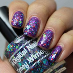Digital Nails Timey Wimey over The Nail Junkie Grape