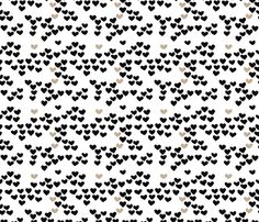 Pastel love hearts tossed hand drawn illustration pattern scandinavian style in neutral black and white ochre XS fabric by littlesmilemakers on Spoonflower - custom fabric