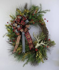 Christmas wreath Christmas Grapevine Wreath Holiday Front