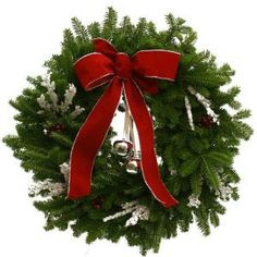 Worcester Wreath 24 in. Silverbell Fresh Wreath with Red Velvet Bow : Multiple Ship Weeks Available-SB24-WK3 at The Home Depot