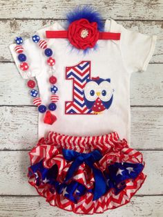 July 4th/First fourth of july/July 4th Owl Birthday/First Birthday/Fourth of july Birthday/Patriotic Bloomer/CakeSmash/Stars and Chevron on Etsy, $54.99