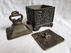 Antique Lead Tobacco Jar Box