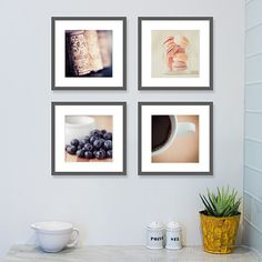 """I call this my """"easy like sunday morning"""" food photograph collection.  Such soothing tones, determined to set a good pace for the day.  kitchen art, culinary photos, coffee and macaroons, blueberries and corks"""
