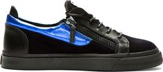 $640, Black and Blue Suede Low Top Sneakers: Blue Black Suede London Sneakers by Giuseppe Zanotti. Sold by SSENSE. Click for more info: http://lookastic.com/men/shop_items/57063/redirect