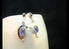 Drop Earrings Tanzanite & Green Amber by WelshHillsJewellery, $48.00