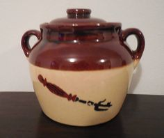 Crock Pot vintage crock pot with lid bean pot with lid crock with lid farmhouse decor brown pot kitchen crock primitive kitchen earthenware