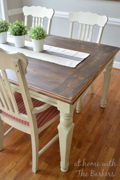 Farmhouse Table. ~You can do this to any table.  Just glue/nail wood on the table and stain it.  wah-la!/LP