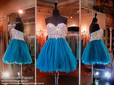This cutie is absolutely adorable! It's bodice is completely covered with sparkling iridescent stones and it has a lace-up back for easy up or down sizing! Available in midnight green and it's at Rsvp Prom and Pageant, your Atlanta Prom Store!
