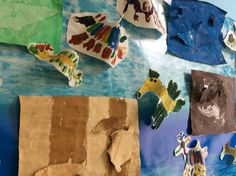 Leafy sea dragon art with water colours. Oceans and seas investigation. Camouflage sea animals - two painted sheets templates of sea animals then position and glue.