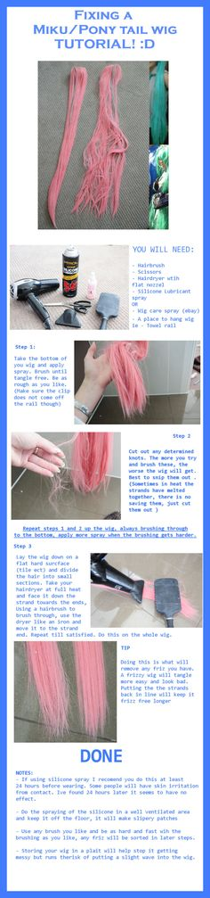 Tutorial: Fixing Ponytail wig by LolaInProgress on deviantART; restore the straight, smooth look of a wig! Epic Cosplay, Cosplay Diy, Cosplay Makeup, Amazing Cosplay, Cosplay Outfits, Halloween Cosplay, Costume Wigs, Anime Costumes, Diy Costumes