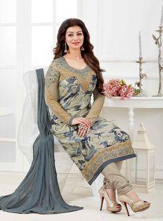Ayesha Takia Beige Georgette Churidar Salwar Suit 85591