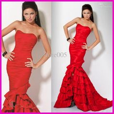 Red Strapless Sexy Split Front Mermaid Prom Dresses Evening Gowns Taffeta E1121