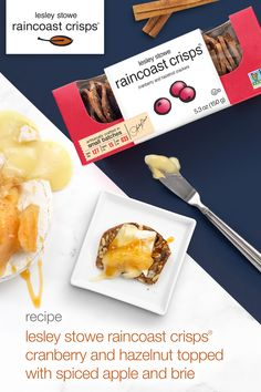 lesley stowe raincoast crisps® cranberry and hazelnut topped with spiced apple and brie Salted Caramel Sauce, Spiced Apples, Serving Platters, Brie, Brown Sugar, Spices, Appetizers, Vegetarian, Baking
