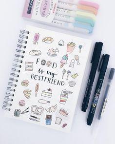 Cute food doodles by insta Study Way. Bullet Journal 2019, Bullet Journal Notes, Bullet Journal Aesthetic, Book Journal, Planner Doodles, Food Doodles, Tittle Ideas, Doodle Art Journals, Lettering Tutorial