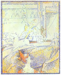 Georges Seurat.  Zirkus (Skizze). 1891, Öl auf Leinwand, 55 × 46 cm. Paris, Musée d'Orsay. Pointillismus. Frankreich. Neo-Impressionismus.  KO 02121