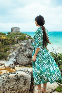 Doina Ciobanu wearing tropical top and skirt in Tulum, Mexico