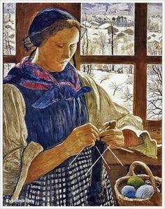 """""""La ventana de Rose""""     -    «Rose window» 1940    -    Ernest Biéler (1863-1948)  -    Pintor suizo de Rolle"""