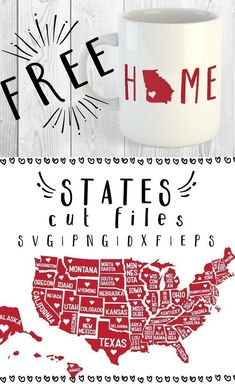 Free States SVG, PNG, EPS and DXF file download for Cricut, Cameo Silhouette. Free SVG files, Free State SVG files, 50 state sag files and 1 capital (D.C.) sag file.