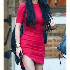 Kylie Jenner Dress Red Tight fit Kylie Jenner Dress. Size medium but fits a small better! Worn twice. Dresses Mini