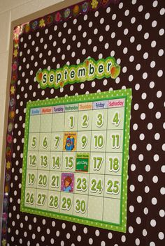 My calendar needs a redo...this polka dot calendar is cute, especially with the black and white polka dot background
