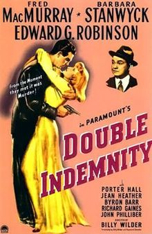 Double Indemnity is a 1944 American film noir, directed by Billy Wilder, co-written by Wilder and Raymond Chandler, and produced by Buddy DeSylva and Joseph Sistrom. The script was based on James M. Cain's 1935 novella of the same title which originally appeared as an eight-part serial in Liberty magazine.