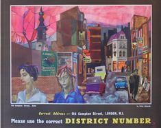Post Office Old Compton Street Soho Peter Edwards UK / 1960 / Advertising Posters / Peter Edwards / Vintage Advertising Posters, Vintage Advertisements, Vintage Posters, General Post Office, London Poster, Railway Posters, Exhibition Poster, Sale Poster, Poster Vintage