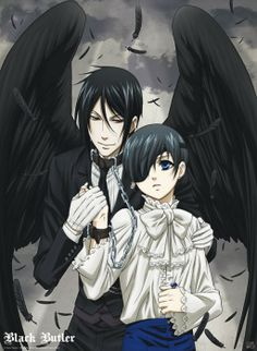 Ciel et Sebastian reliés par la chaîne de leur pacte