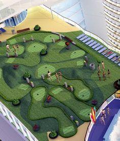Mini golf on ship