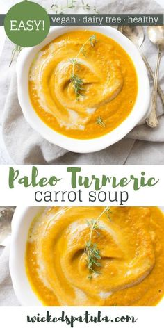Carrot Soup - This Turmeric Carrot Soup is vegan, paleo, and dairy free. It's packs a healthy dose of anti-inflammatory properties. Great for when you're feeling sick! Easy Paleo Dinner Recipes, Easy Whole 30 Recipes, Best Gluten Free Recipes, Soup Recipes, Paleo Meals, Healthy Meals, Vegan Recipes, Paleo Vegan, Whole30 Recipes