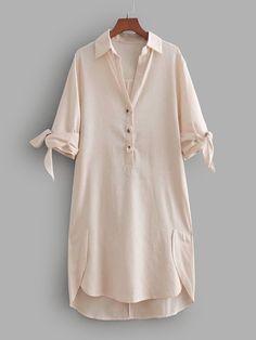 <img> Tie Cuff High Low Shirt Dress -SheIn(Sheinside) Source by denisel - Stylish Dress Designs, Stylish Dresses, Casual Dresses For Women, Fashion Dresses, Clothes For Women, Girls Designer Dresses, Girls Dresses, Kurta Designs Women, Kurti Designs Party Wear