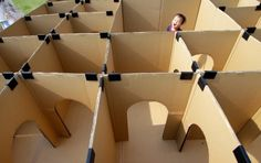 carboard box maze for kids