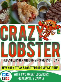 """#Crazylobster is  HOME OF THE """"ALMOST"""" WORLD FAMOUS Lobster Combos and Shrimp #Combos. Breakfast - Lunch - Dinner"""