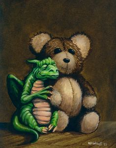 ~ Robert Wayt Smith Aww just love this little dragon and his teddy. Fire Dragon, Dragon Art, Magical Creatures, Fantasy Creatures, Fantasy Dragon, Fantasy Art, Dragon Medieval, Dragon Oriental, Dragon's Lair
