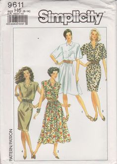 Simplicity 9611 Sewing Pattern  Full or straight by n2Imaginations (Craft Supplies & Tools, Patterns & Tutorials, Sewing & Needlecraft, Sewing, dress, straight, bodice, elastic, waist, pockets, collar, button, sleeves, short, sleeveless, patch, flaps)