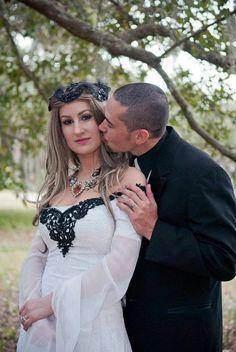 Annabel Velvet and Chiffon Gothic Wedding Gown by RomanticThreads, $795.00