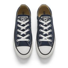 Converse Unisex Chuck Taylor All Star OX Canvas Trainers - Navy ($66) ❤ liked on Polyvore featuring shoes, sneakers, canvas sneakers, navy sneakers, navy blue shoes, star sneakers and converse shoes