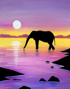 """Paint Nite paintings """"Wading Elephant"""" by artist Holly MacKinnon from Saint Lazare, QB, Canada. Cute Canvas Paintings, Canvas Painting Tutorials, Small Canvas Art, Simple Acrylic Paintings, Elephant Canvas Painting, Elephant Paintings, Horse Paintings, Pastel Paintings, Afrique Art"""