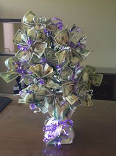 Money Bouquet Discover Money Tree Retirement I made this for my co-worker. Money Rose, Money Lei, Money Origami, Gift Money, Cash Money, Grad Gifts, Diy Gifts, Birthday Money Gifts, Money Bouquet