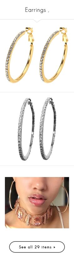 """Earrings ,"" by diamonddolll ❤ liked on Polyvore featuring jewelry, earrings, circle earrings, circular earrings, hoop earrings, circle jewelry, rhinestone hoop earrings, silver hoop earrings, sparkle jewelry and silver jewellery"