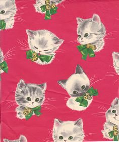 vintage kitten christmas gift wrap - How To Wrap A Cat For Christmas