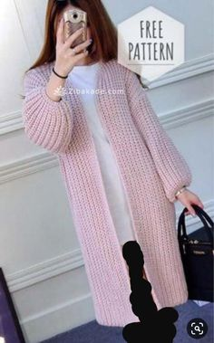 Cardigan Pattern can crochet or knit no specification! - Cardigan Pattern can crochet or knit no specification! Crochet Cardigan Pattern, Crochet Jacket, Sweater Knitting Patterns, Knitting Sweaters, Crochet Patterns, Mittens Pattern, Knit Jacket, Diy Crochet Sweater, Crochet Clothes