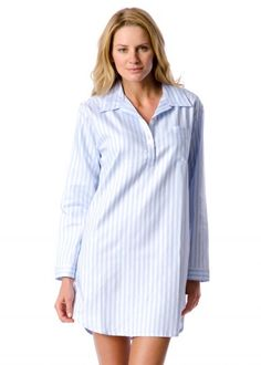 Classic striped cotton nightshirt by PJ Pan Night Shirts For Women 663130945