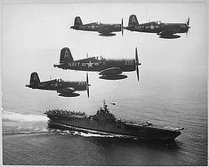 F4U Corsairs and Essex-class aircraft carrier
