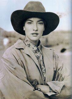 Tatjana Patitz in 'True West' by Arthur Elgort for Vogue US, October 1989.