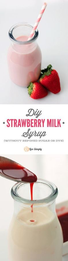 The BEST COPYCAT real food strawberry milk syrup recipe! Just 3 ingredients and made without any refined sugar or artificial dye! A real fruit strawberry milk syrup you can feel good about serving your kids!