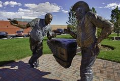 This beautifully crafted metallic statue in Artesia, New Mexico depicts two old timers engaged in conversation. A series of statues in this southern New Mexico community depicts it's cowboy roots and the fundamental ethics of the old west.